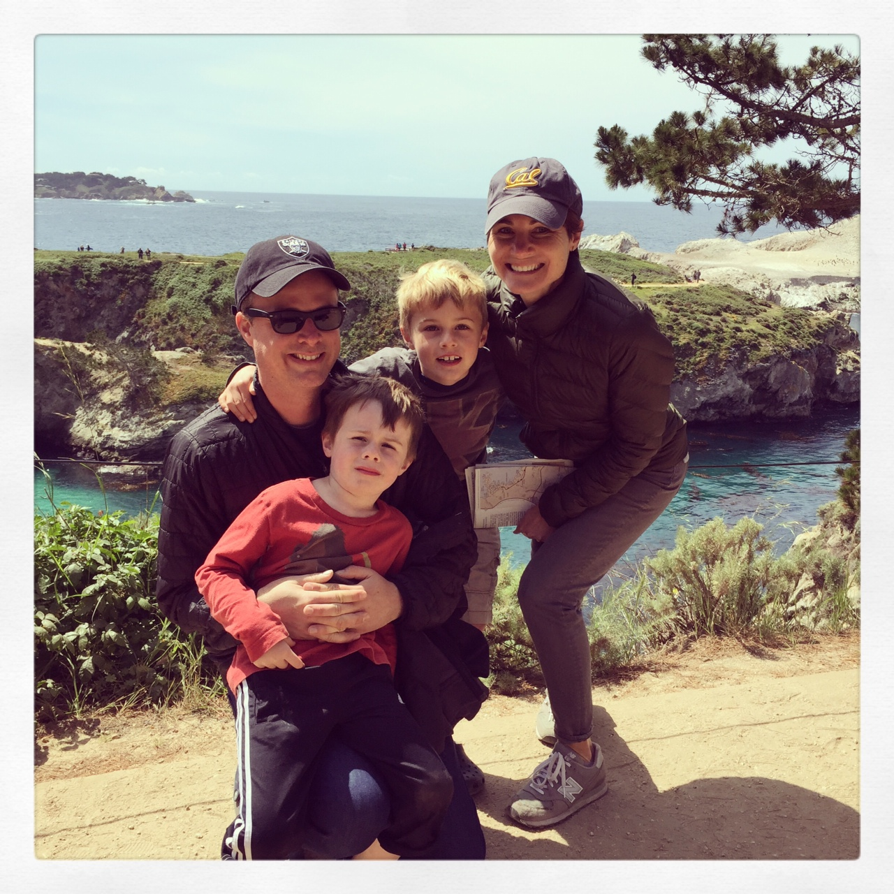 Tracy, right, with her husband and two sons at Point Lobos State Natural Reserve.