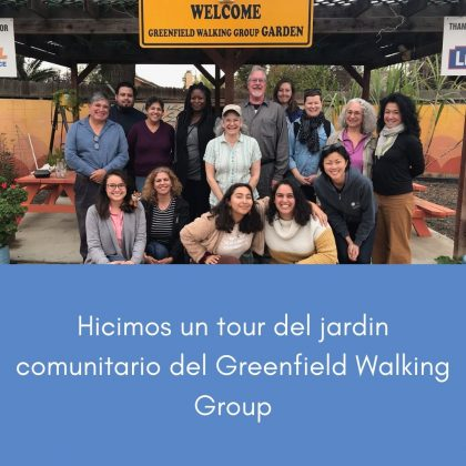 Hicimos un tour del jardin comunitario del Greenfield Walking Group